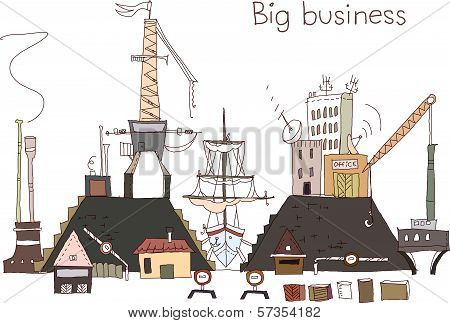 Shipyard repairing work illustration