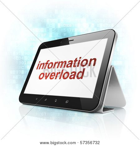 Data concept: Information Overload on tablet