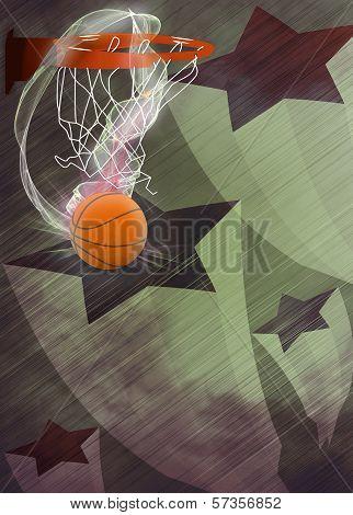 Baketball Hoop And Ball Background