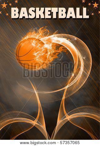 Baketball Fire Ball Background