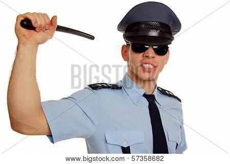 Angry policeman with police baton.