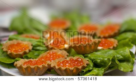 Bread Basket With Red Caviar