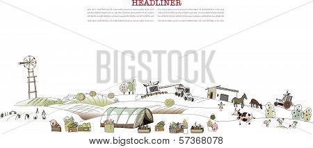 Farm life illustration, city collection