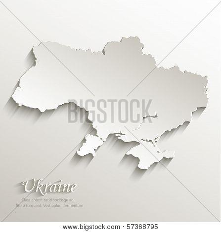 Ukraine map card paper 3D natural vector
