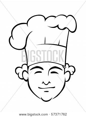 Smiling chef with a tall toque
