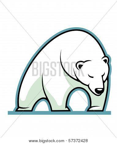 Stylized illustration of a sleepy white polar bear