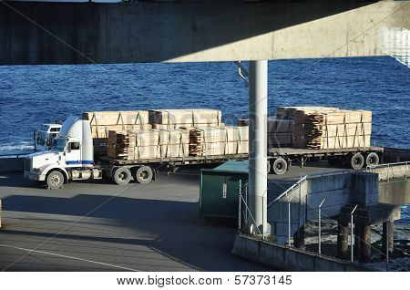 Semi Trucks Waiting to Board Ferry