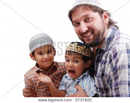 Muslim Family, Father And Two Boys