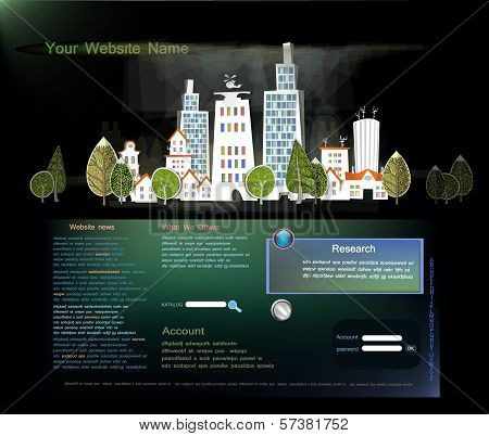web template with city street