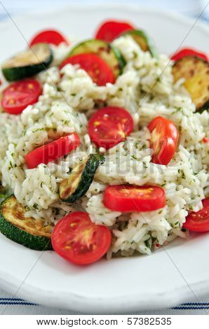 Insalata di Riso, Italian Rice Salad with zucchini and tomatoes