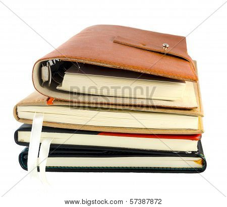 Stack Of Notebooks Isolated On White