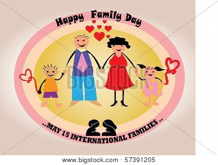 Happy Family Day card - family with oval flame