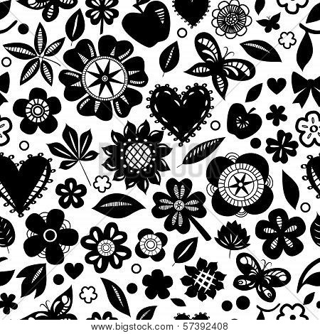 Black and white flowers and hearts silhoettes seamless pattern, vector