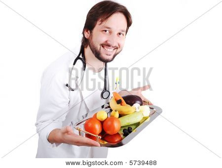 Young Male Doctor Advicing Healthy Natural Food