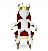 stock photo of throne  - 3d abstract illustration of a man on the throne - JPG
