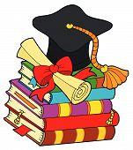picture of graduation cap  - Graduation hat on pile of books  - JPG