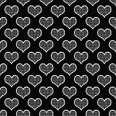 Black And White Polka Dot Hearts Pattern Repeat Background