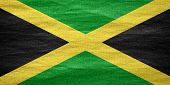 picture of jamaican flag  - flag of Jamaica or Jamaican banner on canvas texture - JPG