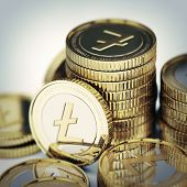 stock photo of bit coin  - Golden Litecoin digital currency coin  - JPG