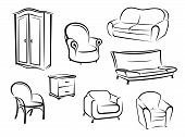 image of couch  - Collection of doodle sketches in black and white furniture designs showing a wardrobe - JPG