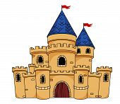 stock photo of turret arch  - Cartoon illustration of an old medieval castle or fortress with a central arched door - JPG