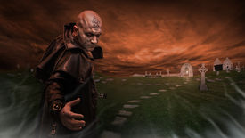 image of rune  - Black Magician in the leather raincoat is inviting you to a graveyard - JPG