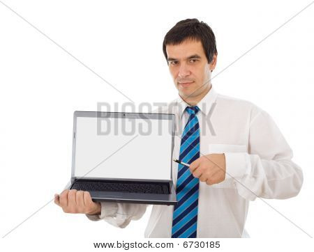Market Analyst Showing You Laptop Screen