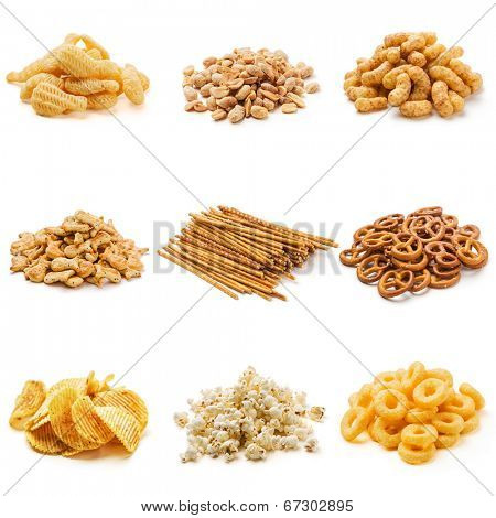 Snack collection isolated on white background