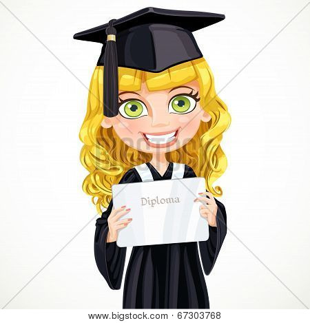 Girl In Cap And Gown Graduate