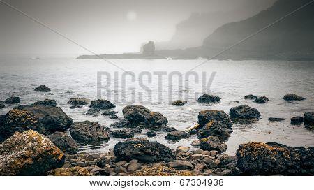 An image of a foggy coast in Ireland