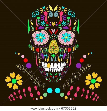 Skull with floral ornament 1.Vector illustration.