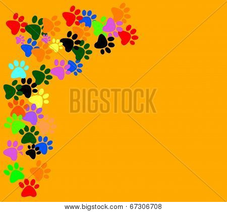 Colored Pawprints On  Orange Background