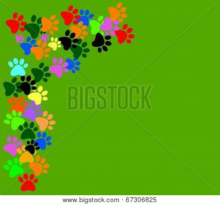 Colored Pawprints On Green Background
