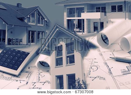 Blueprints, Houses And Calculator