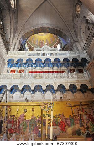 JERUSALEM, ISRAEL - MARCH 9, 2012: Painting of interior walls and ceilings set in the Temple of the Holy Sepulchre