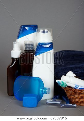 Many different color tubes and bottles for hygiene