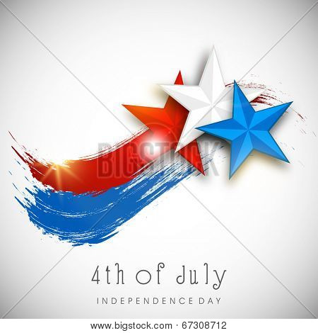 Shiny Stars in American National Flag color on grey background for 4th of July, American Independence Day celebrations.