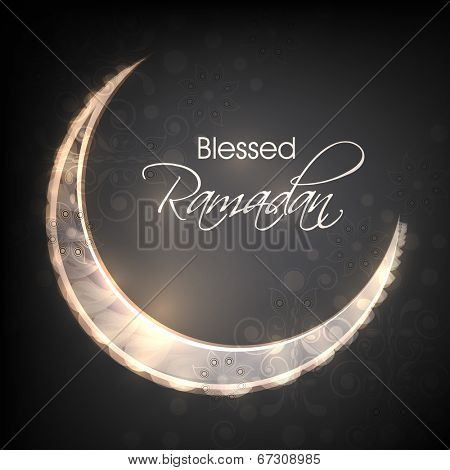 Shiny crescent moon on grey background for holy month of Muslim community Ramadan Kareem.