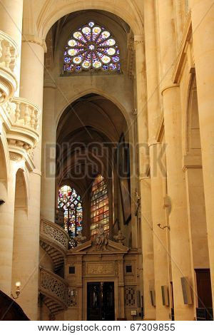 PARIS,FRANCE NOV 06:Saint-Etienne-du-Mont church, located on the Montagne Sainte-Genevieve, near the Pantheon. It contains the shrine of St. Genevieve, the patron saint of Paris. On Nov 06 in Paris