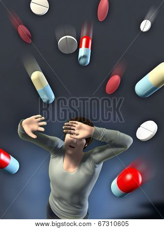 Different drug pills and capsules attacking a scared patient. Digital illustration.