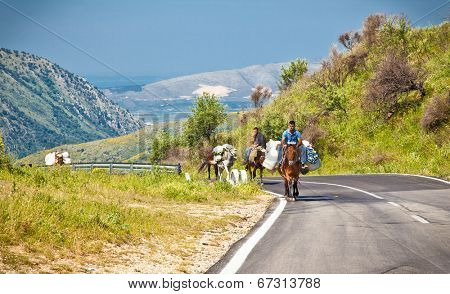 GJIROKSTER, ALBANIA-JUNE 7,2014: Today as before, people on donkeys carry loads in the mountains of Gjirokaster region on June 7, 2014, Albania.