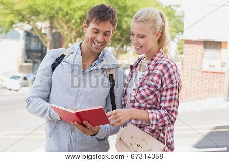 Young tourist couple consulting the guide book on a sunny day in the city
