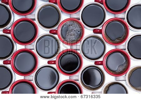Pattern Of Black Coffee In Red And White Mugs