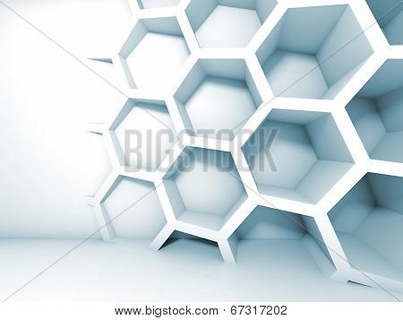 Abstract Blue 3D Interior With Honeycomb On The Wall