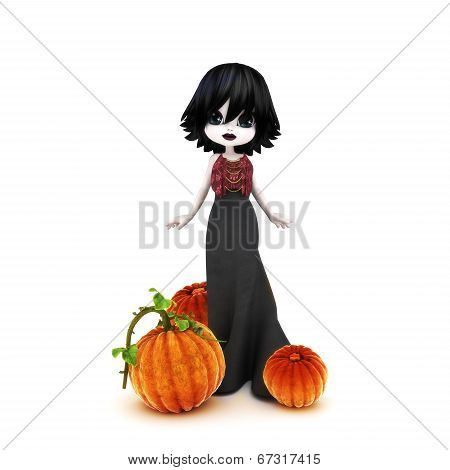 Cute Halloween Gothic toon posing with pumpkins