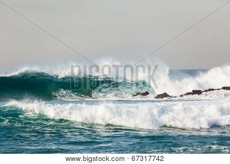 Blue Ocean Wave Crashing