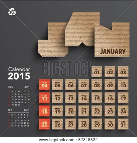 Vector 2015 Cardboard Calendar Design - January