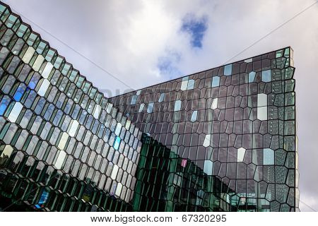 REYKJAVIK, ICELAND - AUGUST 31, 2013: Fragment of Harpa concert hall, Reykjavik, Iceland. Harpa was opened on May 13, 2011. It was selected as Best Performance Venue 2011 by Travel & Leisure magazine