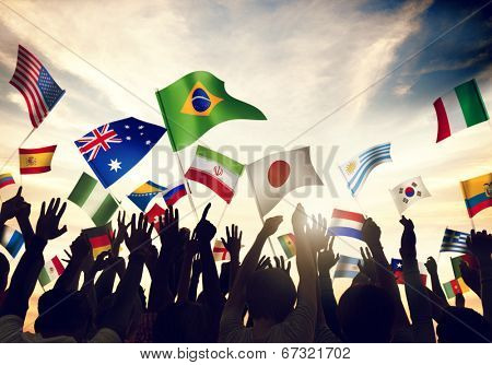 Group of People Waving Flags in World Cup Theme