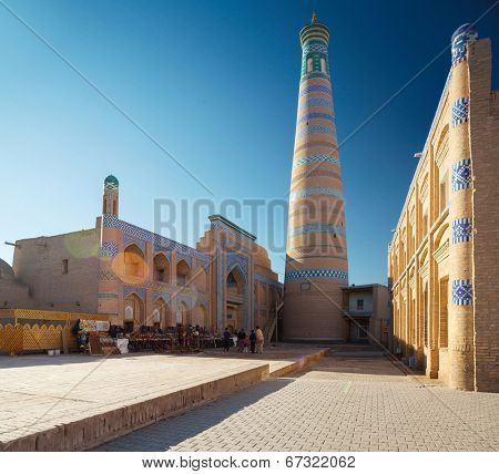 Islom Xoja complex in the city of Khiva at sunny day. Uzbekistan